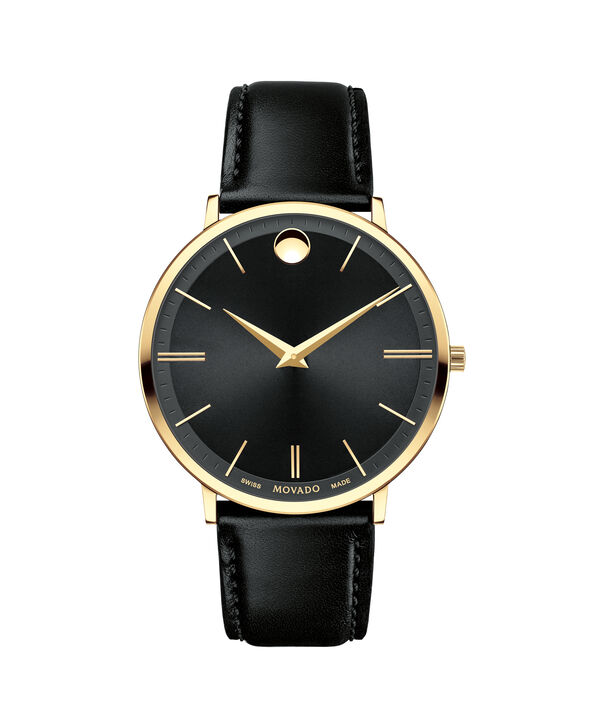 Movado | Movado Ultra Slim Men's Large Yellow gold PVD-finished stainless steel watch with Black dial