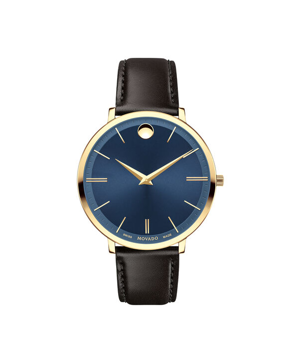 Movado | Movado Ultra Slim Women's Mid-size Yellow gold PVD-finished stainless steel watch with Blue dial