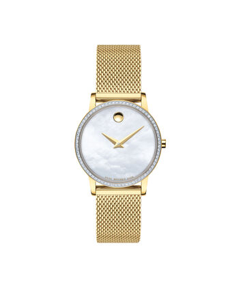 MOVADO Museum Classic0607307 – Montre-bracelet en mailles à cadran de 28 mm pour femmes - Front view